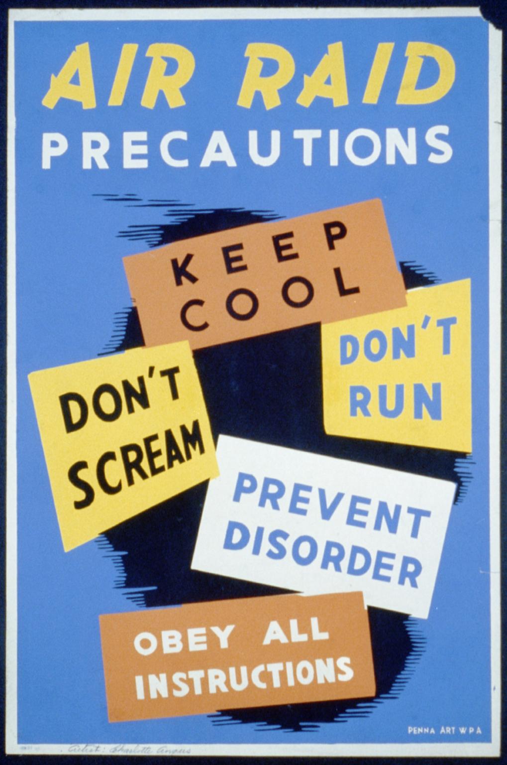 Air Raid Precautions Keep Cool, Don T Scream, Don T Run, Prevent.