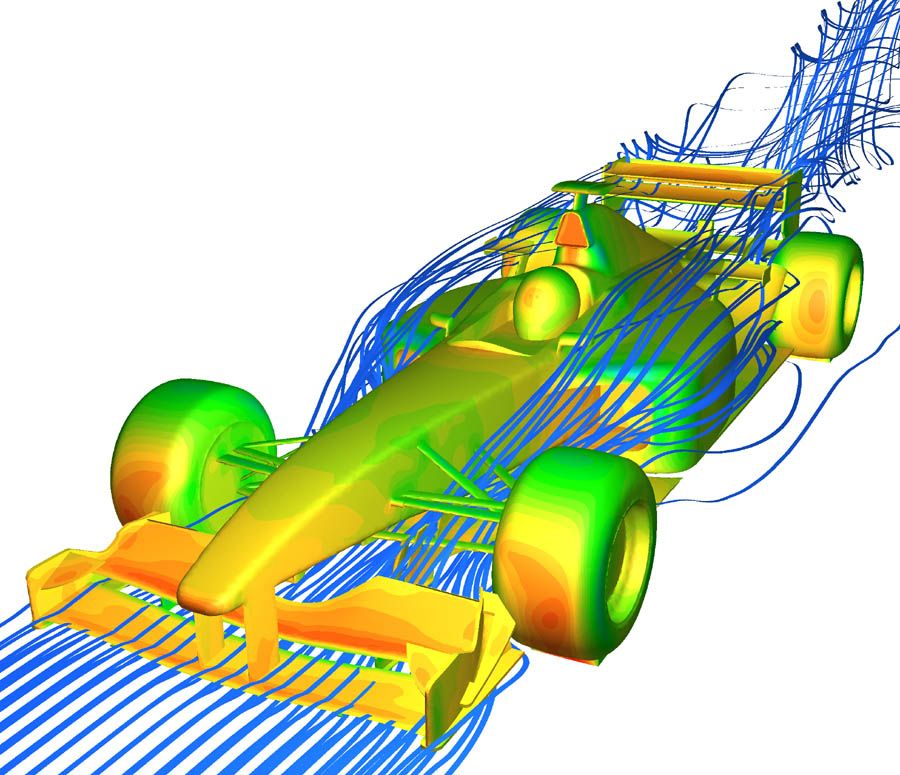 An analysis of formula car air resistance that shows surface.