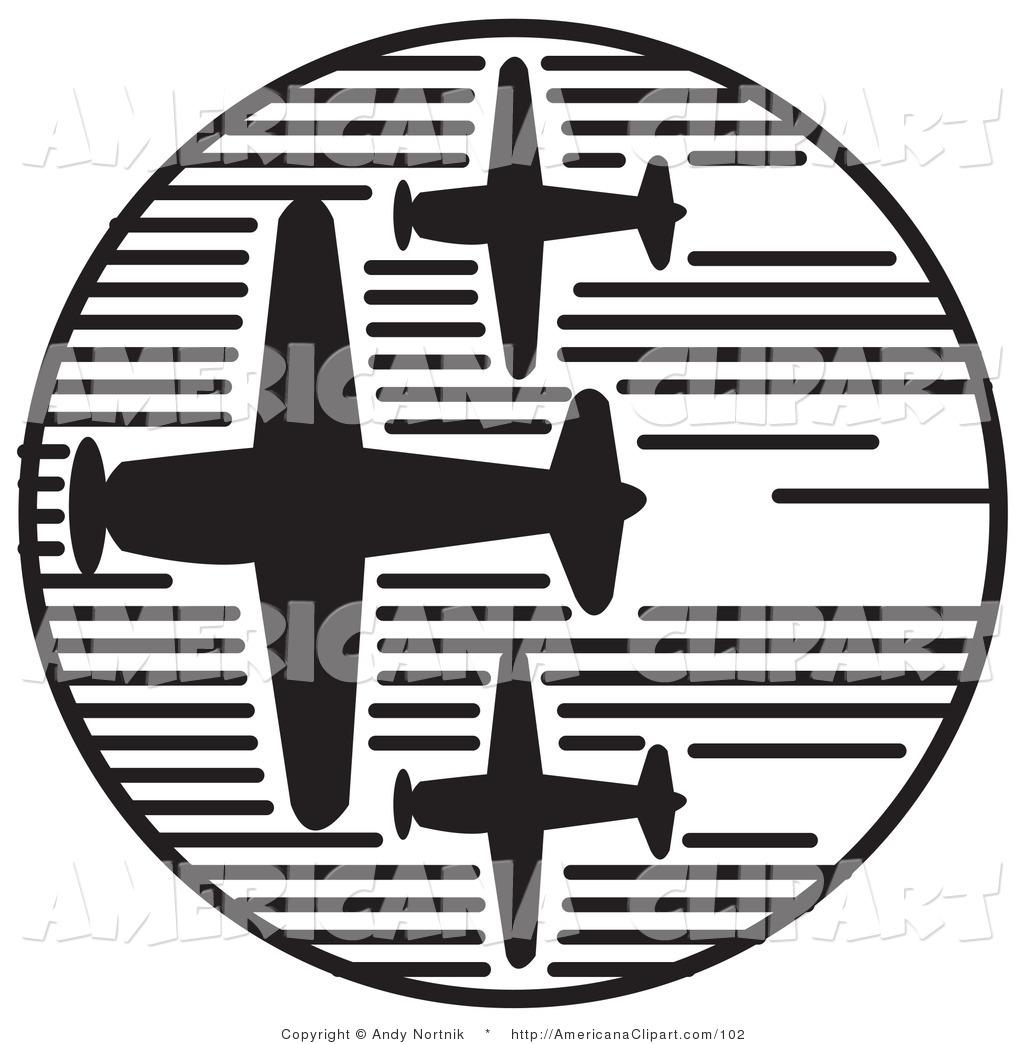 Americana Vector Clip Art of Three Propeller Airplanes Speeding.