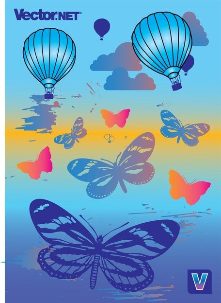 Hot Air Balloons And Butterflies Clipart Picture.