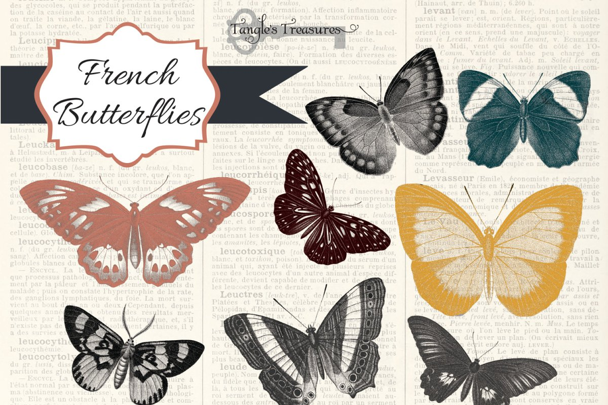French Butterfly Clipart.