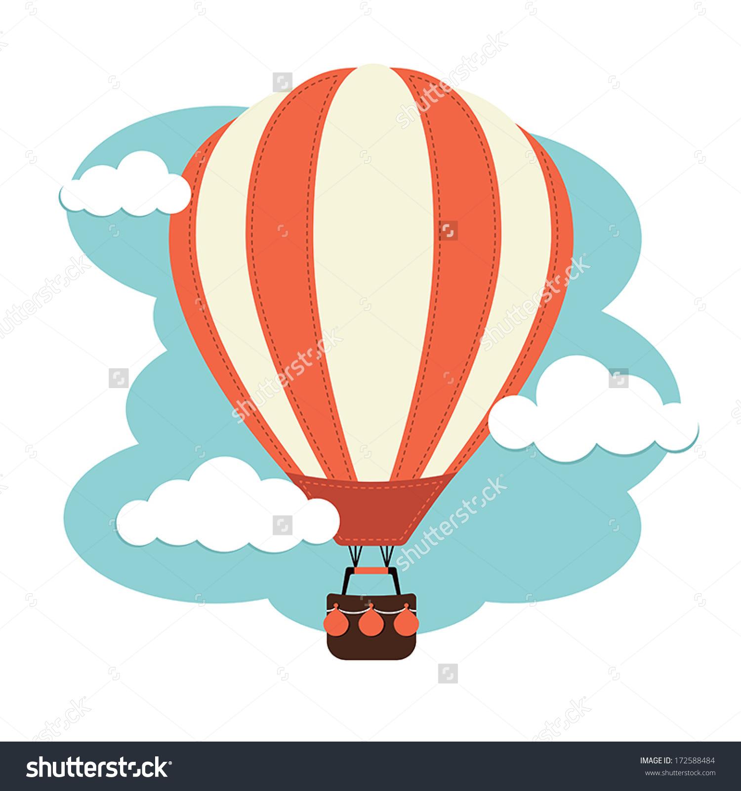 Hot Air Balloon Clouds Stock Vector 172588484.
