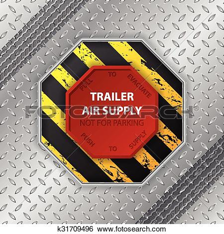 Clip Art of Industrial design with tire track and trailer air.