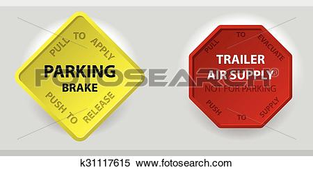Clipart of Truck parking brake knob and trailer air supply knob.