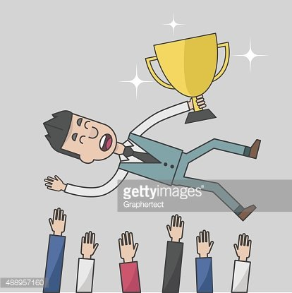 Business man success being thrown in the air Clipart Image.