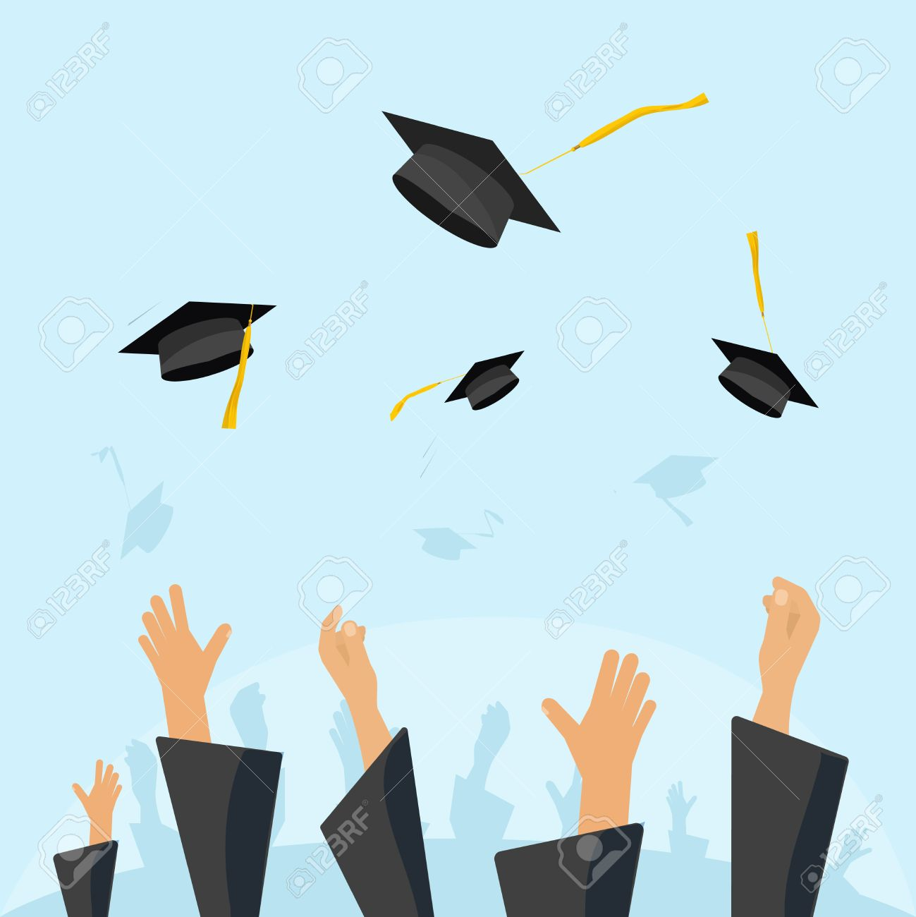Graduation Hats In The Air Clipart.
