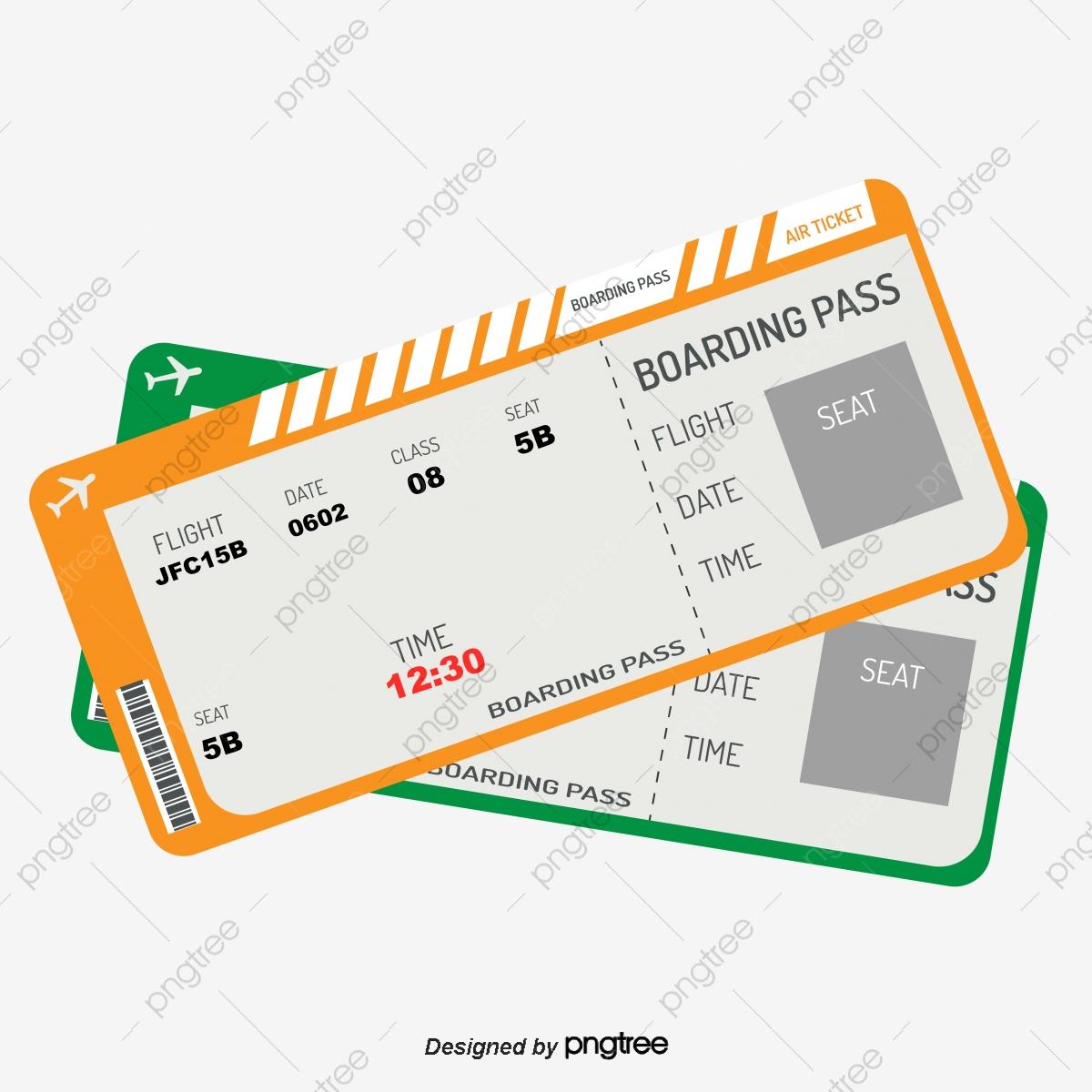Simple Color Flight Ticket Boarding Pass, Color Clipart, Ticket.