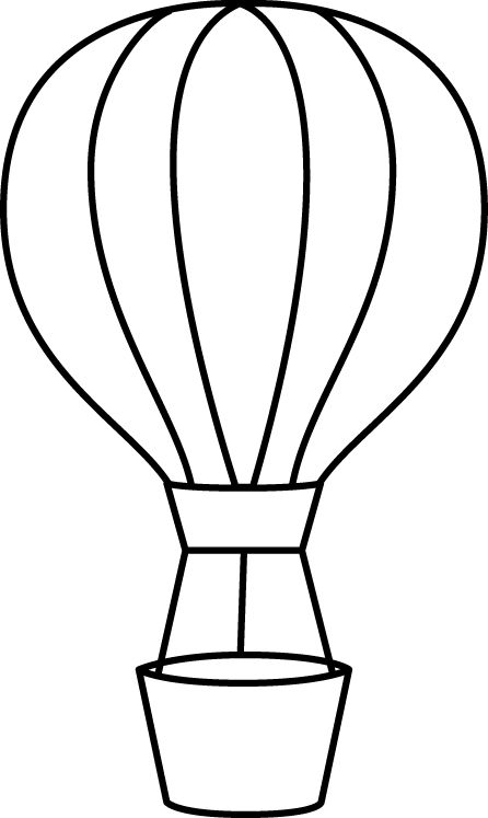 Air balloon clipart black and white.