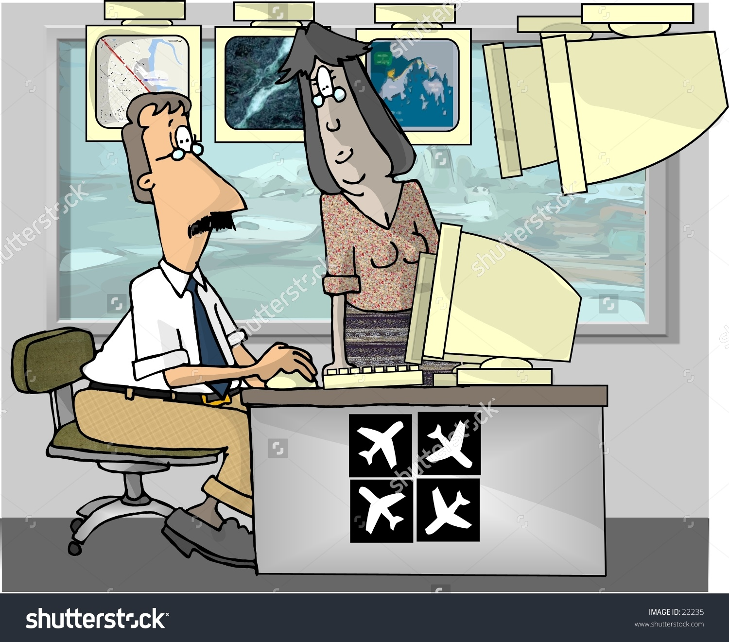 Clipart Illustration Of Two Air Traffic Controllers..
