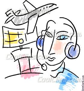 Air Traffic Control Vector Clip art.