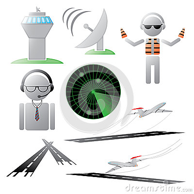 Air Traffic Control Tower Jet Airplane Stock Illustrations.