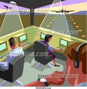 Air traffic control scene Clip Art.