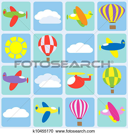Clipart of Air transportation. Seamless vector pattern k10455170.
