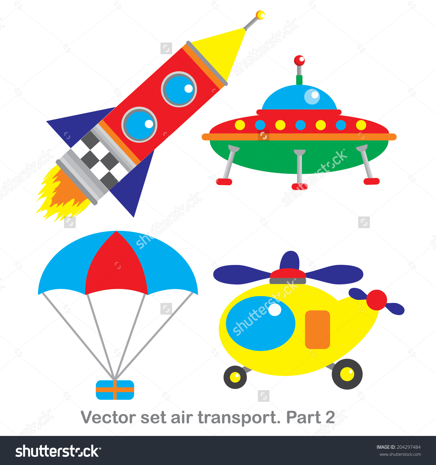 Vector Clip Art Set Air Transportpart Stock Vector 204297484.
