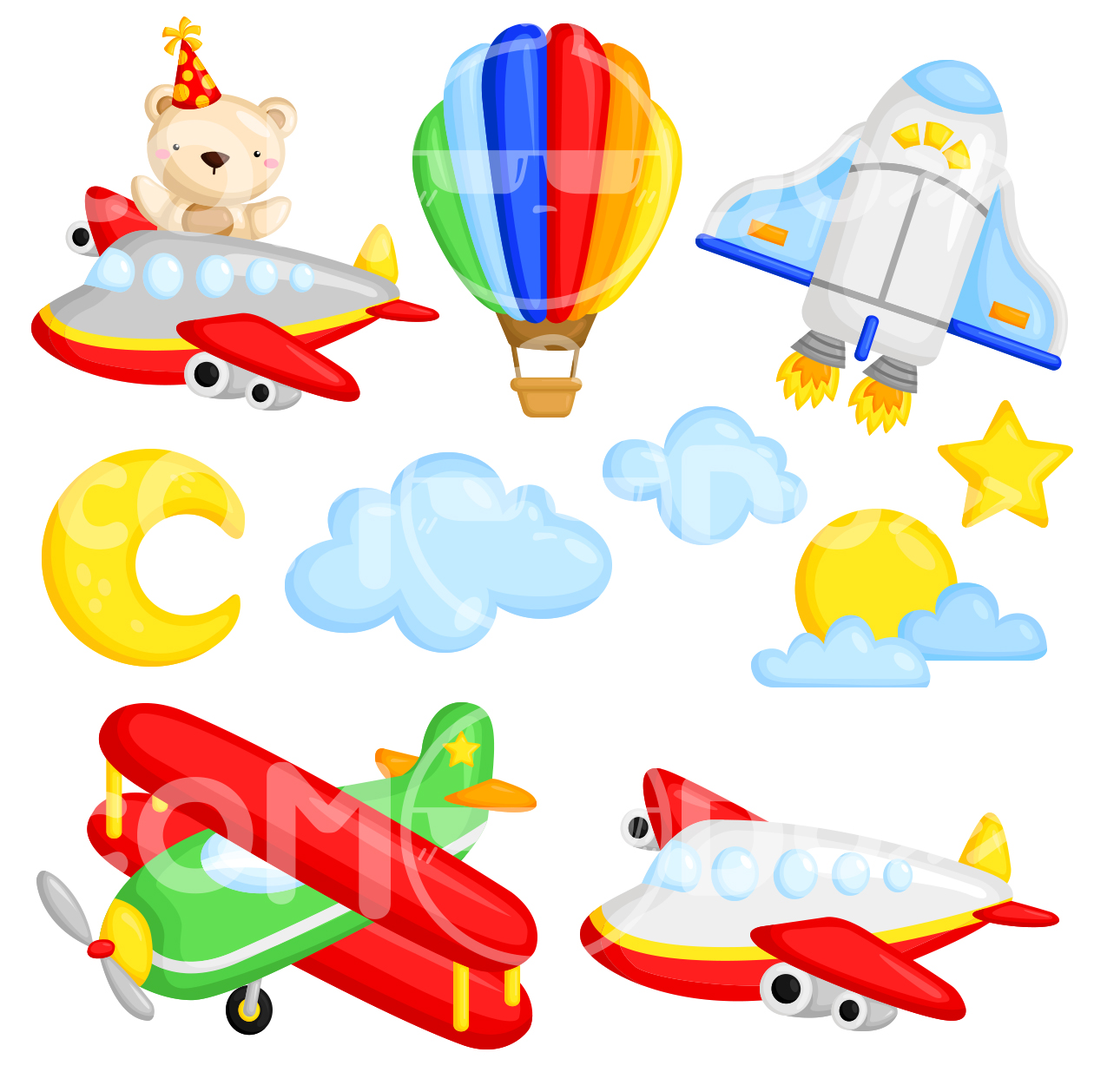 Air Transportation Clipart Collection.