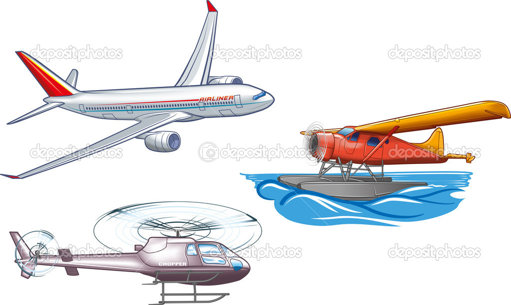 Types of air transportation clipart.