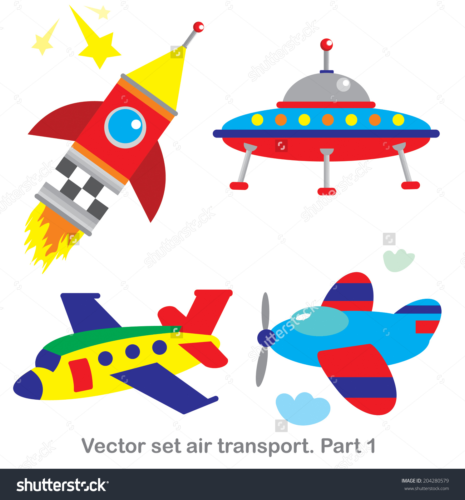 Vector Clip Art Set Air Transportpart Stock Vector 204280579.