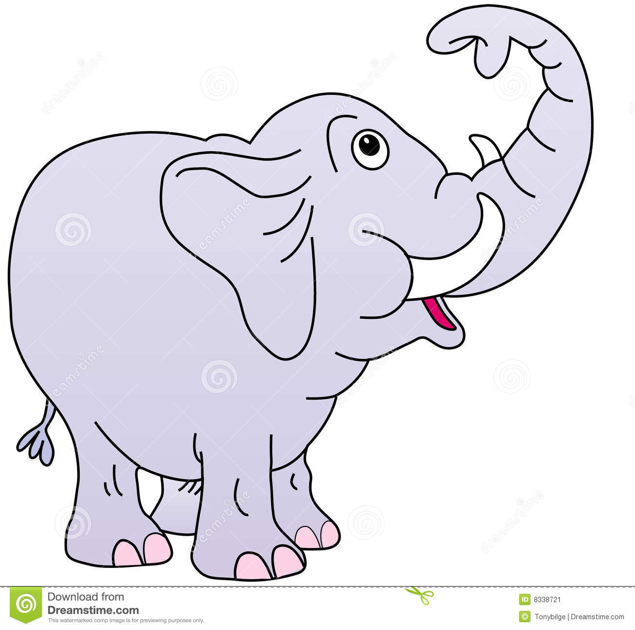 Elephant trunk up clipart.