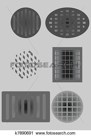 Clipart of Sewer and air vents. k7890691.