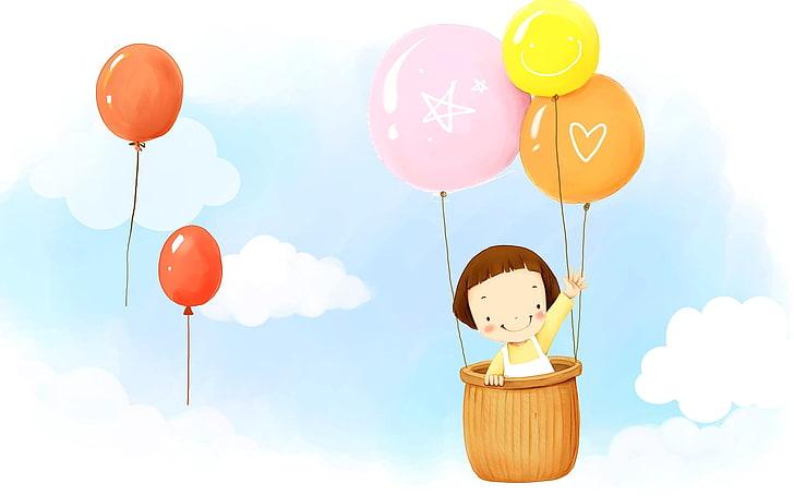 HD wallpaper: girl riding hot air balloon clip art, baby.