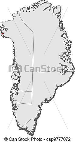 Vector Illustration of Map of Greenland, Thule Air Base.