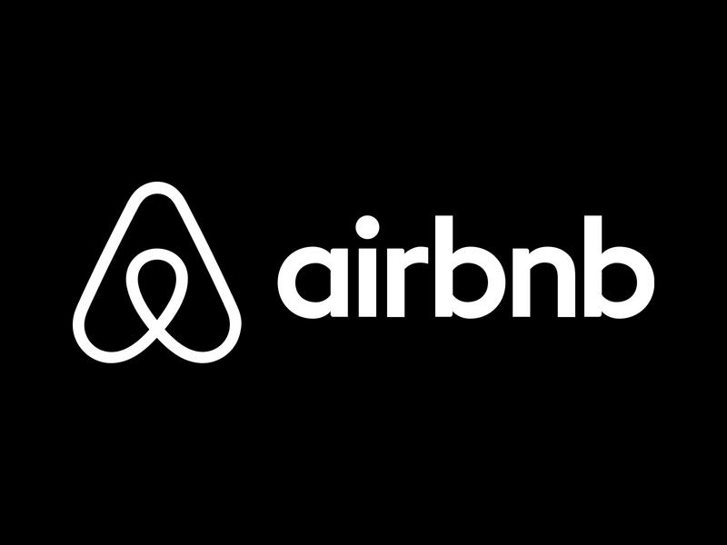 Download Free png Airbnb Logo White on Black.