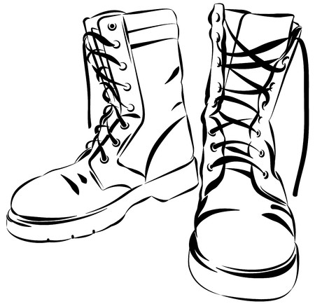 Old army boots. Military leather worn boots. Vector graphic.