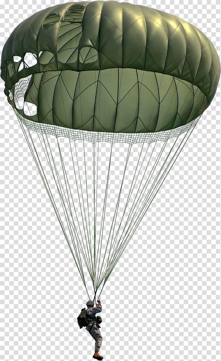 Man riding parachute, Parachute Military surplus Army United.