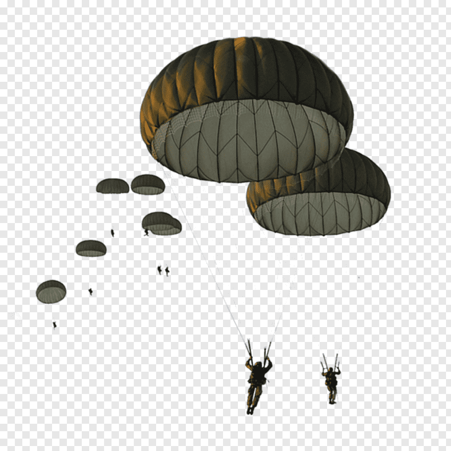 Group of people parachuting down together illustration.