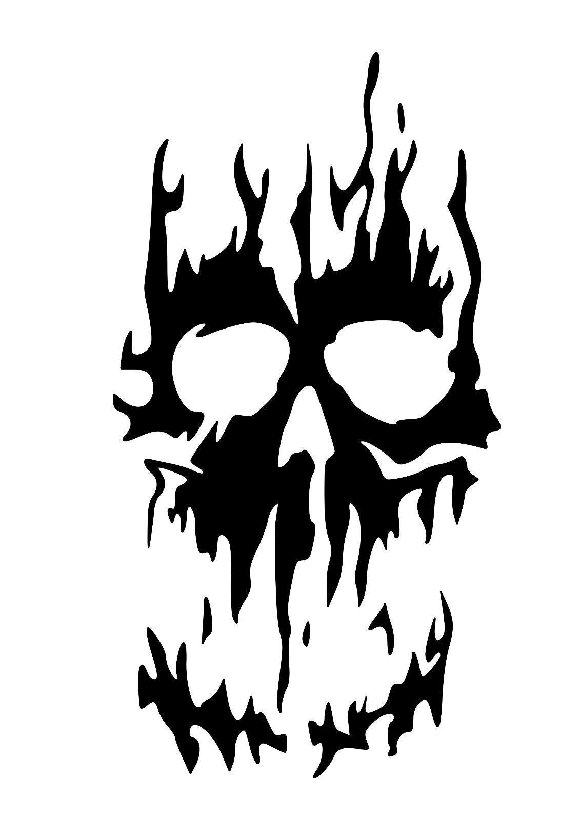 High Detail Flaming Skull Airbrush Stencil.
