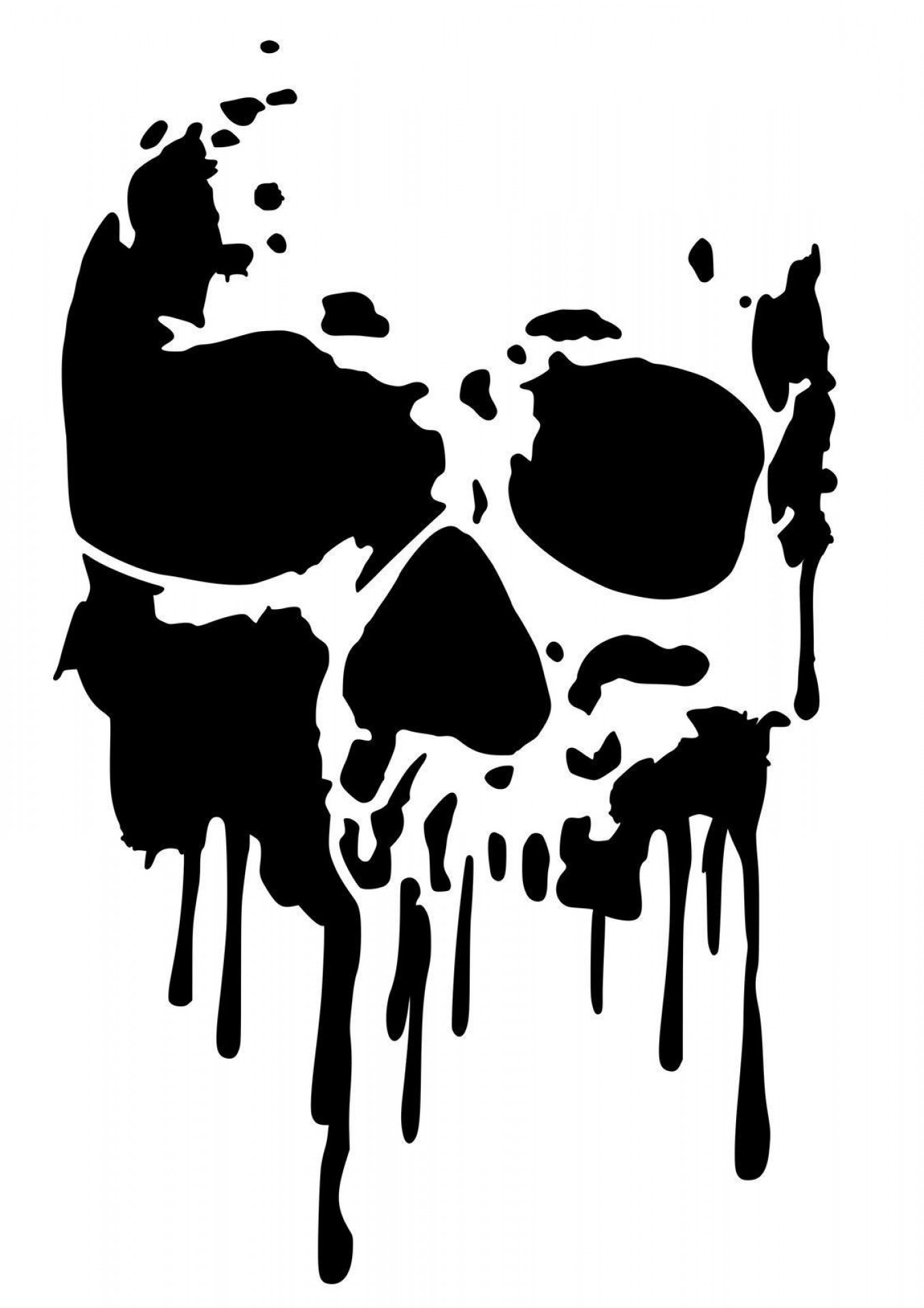Free Clip Art Uk High Detail Dripping Skull Airbrush Stencil.