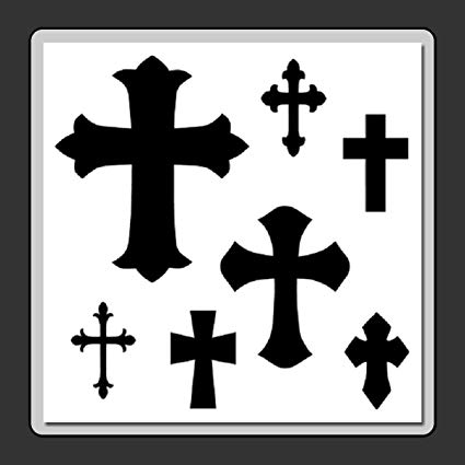 12 X 12 (7 in 1) Mixed Crosses Stencil Template  Gothic/Halloween/Crucifix/Cross.