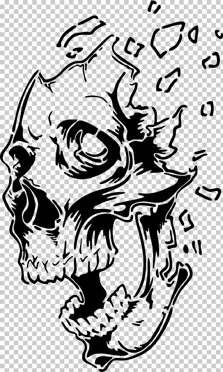 Stencil Airbrush Drawing Skull Art, skull PNG clipart.