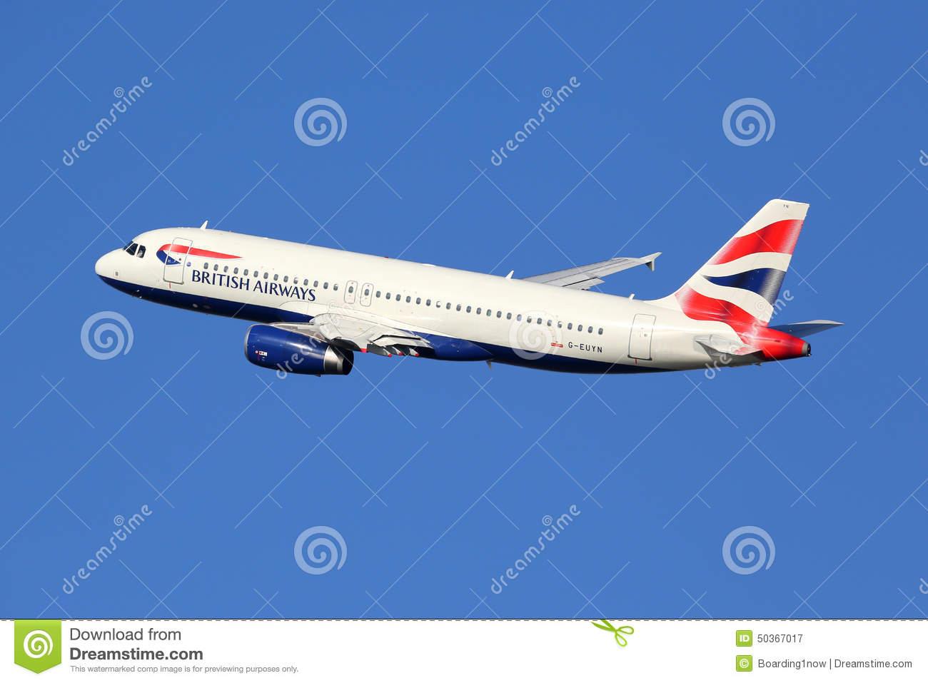 British Airways Passenger Aircraft. Airbus A320 Editorial Stock.