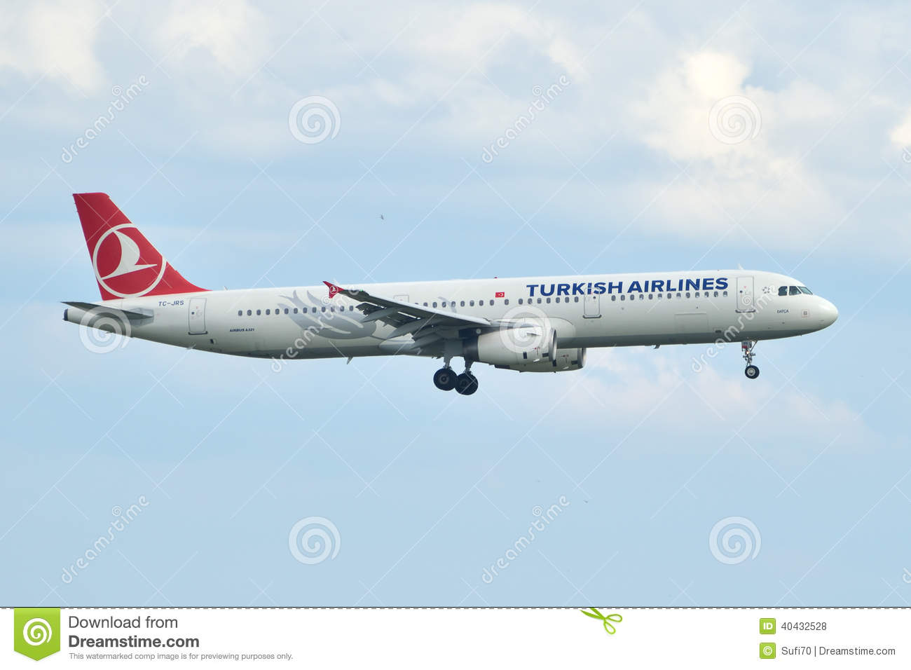 Turkish Airlines Airbus A321 Landing At Istanbul Ataturk Airport.