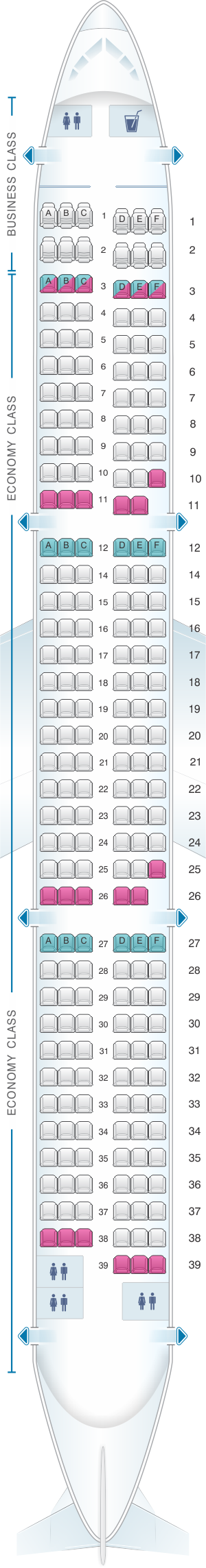 Seat Map Airbus A321.