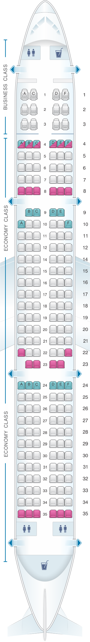 Seat Map Avianca Airbus A321.