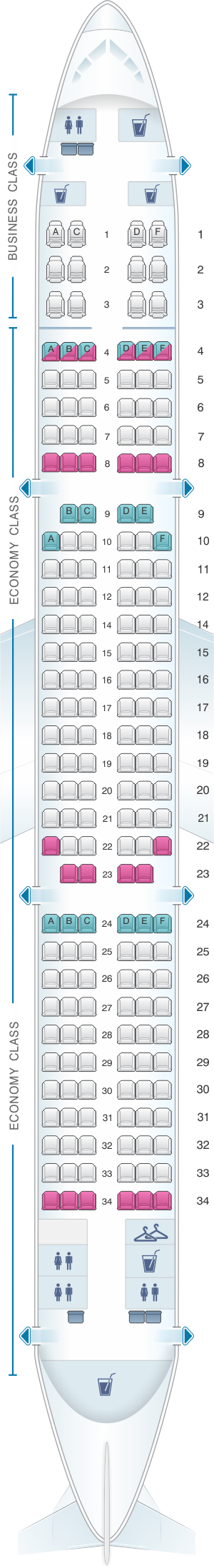 Seat Map Turkish Airlines Airbus A321 200.