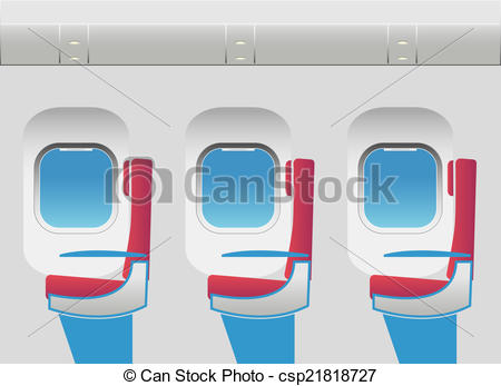 Vector Illustration of Aircraft cabin with portholes and seats.