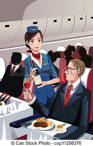 Vectors Illustration of Flight attendant.