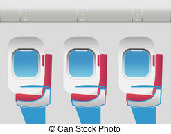 Vector Clip Art of Aircraft cabin with passenger seats.