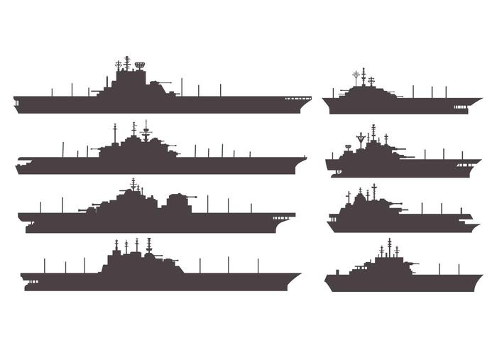 Silhouettes Aircraft Carrier Vector.