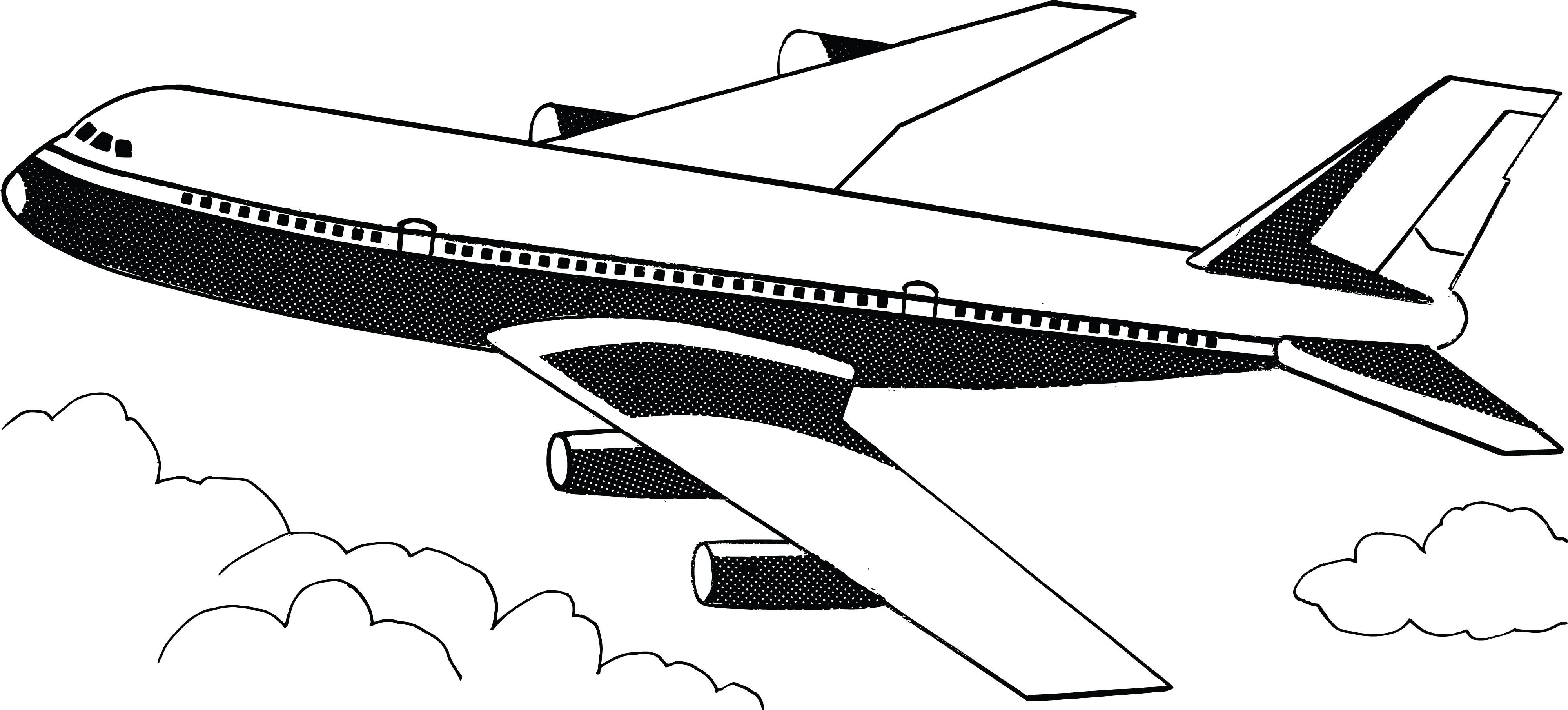 Black And White Clipart Airplane.