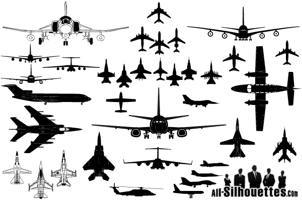 Vector Airplane Clipart Silhouettes.