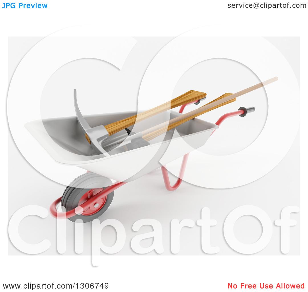 Clipart of a 3d Construction Wheelbarrow with a Pickaxe Shovel and.