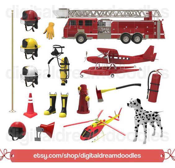 Clipart, Fire Fighter Clip Art, Fireman Graphic, Dalmation Dog.