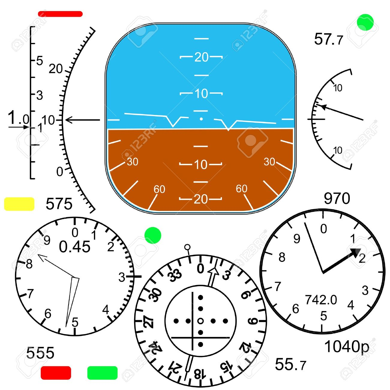 Airplane control panel clipart.