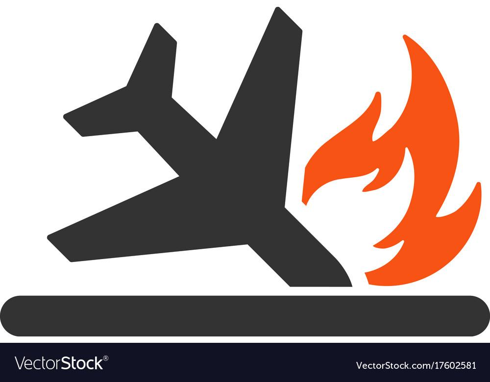Airplane landing crash flat icon.