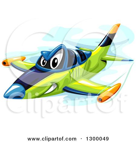 Clipart Cute Happy Blue Passenger Airplane.
