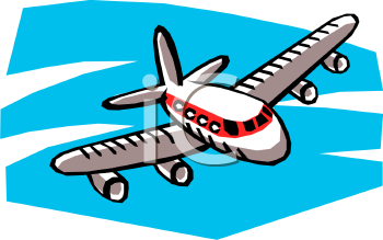 Cartoon of a Passenger Plane Flying Toward.